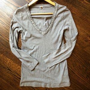 J. Crew Long Sleeve V-Neck T-shirt Grey Sz M